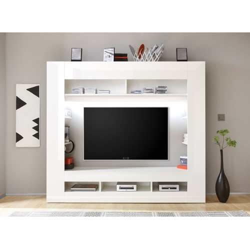 Media-Center in Hochglanz weiß, Korpus in weiß mit großem TV-Ausschnitt und offenen Geräterfächern, Maße: B/H/T ca. 180/160/34 cm - 2
