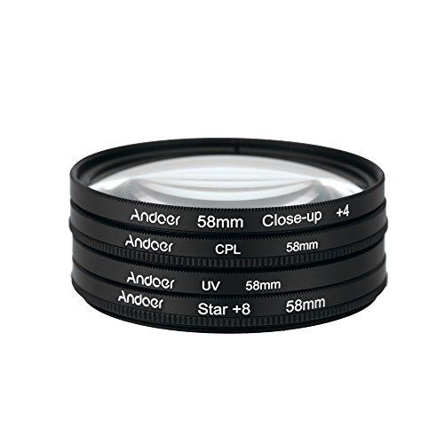 Andoer® 58mm UV+CPL+Close-Up+4 +Star 8-Point Filtro Circolare Kit filtro Polarizzatore circolare Filtro Macro Close-up Stella 8-Point filtro con il Sacchetto per Nikon Canon Pentax Sony DSLR