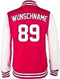 EZYshirt® Familien College Jacke Athletic mit Wunschnamen und Wunschnummer | Damen Herren Kinder |, Damen/Rot Weiss/ Weiss, 5-6/110-116