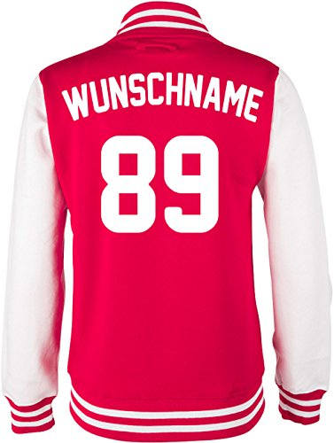 EZYshirt® Damen Herren Kinder College Jacke Athletic mit Wunschnamen und Wunschnummer | Baseball Jacke | -