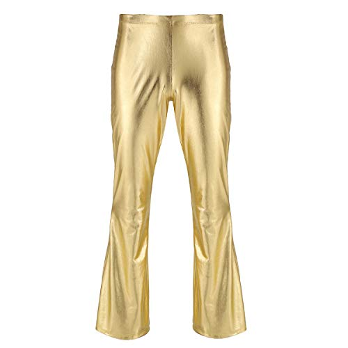 YiZYiF Herren Glänzend Leder Hose Wetlook Schlaghose Metallic Slim fit 70er Jahre Hippie Kostüm Faschingskostüme Party Tanz Disco Latain Clubwear Gold ()