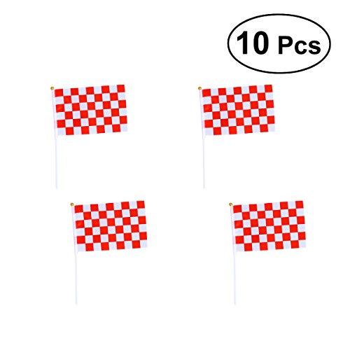 Checkered Flag Stick (BESTOYARD Racing Stick Fahnen Mini Racing Flags Rot Weiß Checkered Flag auf Stick für Nascar Tiny Car Sport Veranstaltungen Dekoration Lieferungen, 10er Pack)