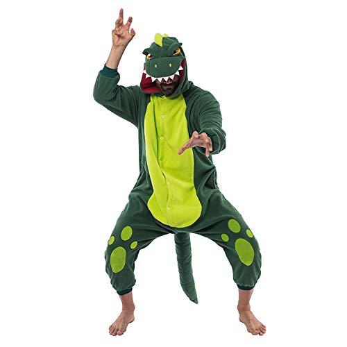 Spooktacular Creations Unisex Erwachsene Pyjama, Plüsch Onesie Einteiler Dinosaurier Tier Kostüm, Cosplay Halloween Karneval (Dinosaur Pet Kostüm)