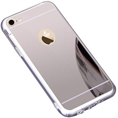 kompatibel mit iPhone 7 Hülle,iPhone 8 Hülle,Schutzhülle für iPhone 8 7 Silikon Handyhülle Spiegel Hülle Bling Strass TPU Handyhülle Weiche TPU Silikon Bumper Mirror Case für iPhone 8/7,Silber Spiegel Iphone