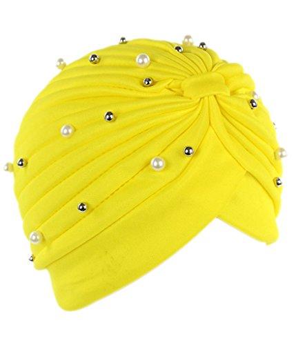 I VVEEL Femme Bonnet Turban plissé Indian Musulman Couvre-tête avec Perles