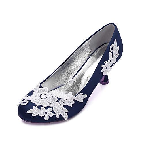 AIMISHOES Dame Round Toe Satin Spitze Applique High Heels Stap Braut Hochzeit Schuhe Sweet Party Prom Girl High Heels,Navy blau,42