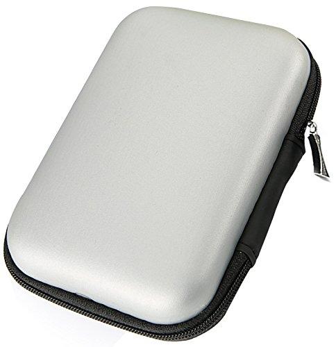 LUCKLYSTAR® Hard Case Erschütterungsfeste Schutzbox Festplattentasche Universal Schutzhülle Tasche für Festplatte Kabel und sonstiges Zubehör und sonstiges Zubehör 2.5 Zoll(Silber)