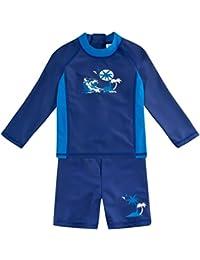 Landora®: Baby- / Kinder-Badebekleidung langärmliges 2er Set mit UV-Schutz 50+ und Oeko-Tex 100 Zertifizierung in blau