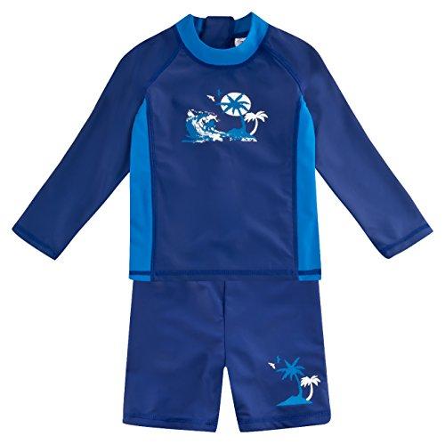 Landora®: Baby- / Kinder-Badebekleidung langärmliges UV-Schutz 2er Set in Marine, Größe 122/128