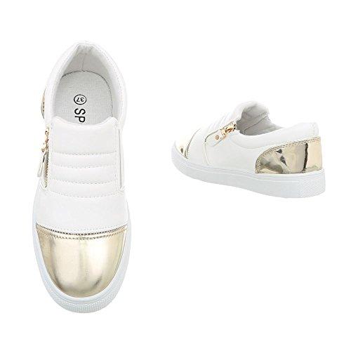 Ital-Design Sneakers Low Damenschuhe Sneakers Low Moderne Reißverschluss Freizeitschuhe Weiß Gold D20
