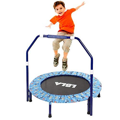 ø38 pollici trampolino per bambini con corrimano regolabile e imbottitura di sicurezza mini trampolino elastico pieghevole per bambini trampolino per bambini con maniglia - sportivi per bambini(nero)