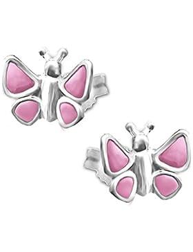 CLEVER SCHMUCK Silberne Ohrstecker mit Schmetterling 7 mm plastisch rosa lackiert glänzend STERLING SILBER 925...
