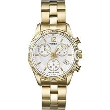 Timex T2P058D7 - Reloj analógico de cuarzo para mujer con correa de acero inoxidable, color dorado