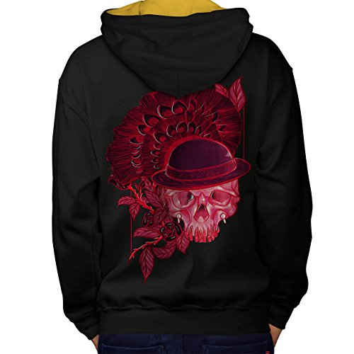 Rot Schädel Blume Natur Men M Kontrast Kapuzenpullover Zurück | (Hai Linke Kostüm Der)
