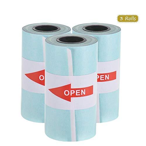 Selbstklebende Thermopapierrollen Packung Mit 3 Aufklebern Thermopapier Für Tragbare Taschen-Thermodrucker Spaß Beim Lernen (Color : Blau)