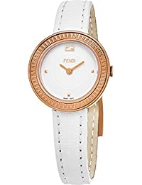 FENDI My Way Femme 28MM Bracelet Cuir Blanc Saphire Quartz Montre F354524041 38dd878f849