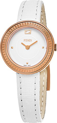 Fendi My way 28 mm bianco pelle Band orologio al quarzo Swiss F354524041