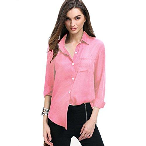 Bluestercool Camicia Donna Maniche Lunghe Chiffon Casual Rosa