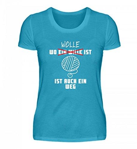 Shirtee Hochwertiges Damen Premiumshirt - Wo Wolle ist, ist ein Weg Turquoise