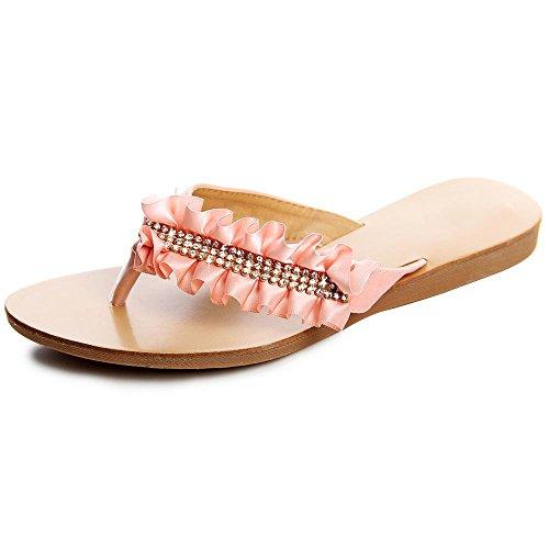 Topschuhe24 femme sandales pour femme strass Rose - Rose