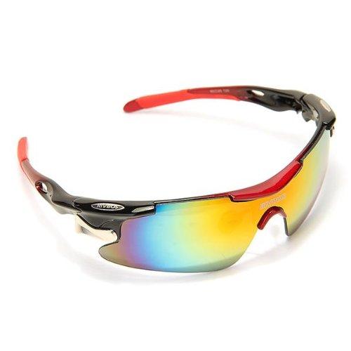 Radbrille, TOMOUNT Fahrradbrille Sonnenbrille mit 5 Wechselgläsern Sportbrille für Radfahrer + Gürteltasche , ideale UV400 Brille für Radsport