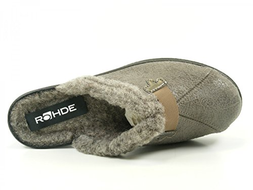 Rohde Mesdames Micro Suede mules 2525-17 truffes, taille 38-40, taille G, doublure chaude, talon environ 4 cm Grau