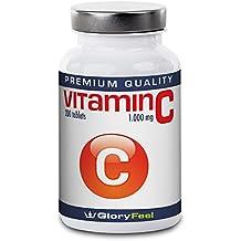 Vitamina C Alta Dosificación 1000 mg - 200 Tabletas para Hasta 7 Meses - 1000mg de Vitamina C Pura por Tableta Vegana - Sin Estearato de Magnesio - Suplemento Alimenticio de GloryFeel