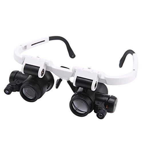 YDFDJT Kopfmontage Brillen Lupe LED-Beleuchtung Hohe Klarheit Optische Objektive 8X/23X Reparatur Handwerk Schmuck