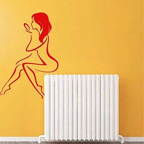 zlhcich Wand Vinyl Aufkleber Aufkleber Nackte Frau Mit Handspiegel Bad Salon Decor Art56 * 88Cm