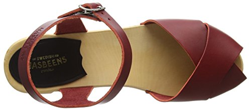 Swedish Hasbeens Damen Merci Sandalen Red (Wine Red)
