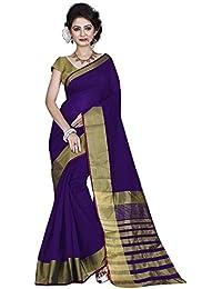 Silk Zone Women's Cotton Silk Saree With Blouse Piece (SVSWP00001_Blue_Free Size)