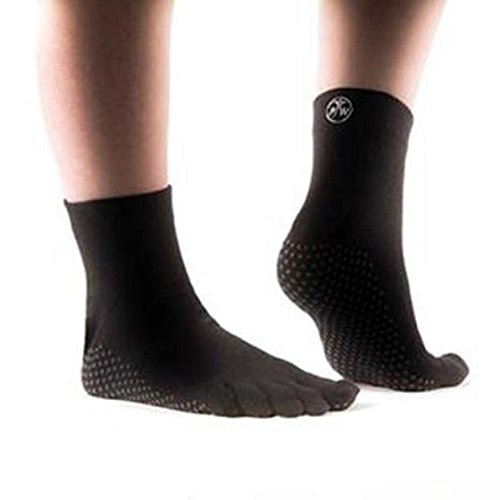 Damen-rutsch-griffe (PhysioWorld Full Toe Socks - Black - Medium)