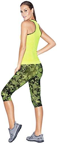 Haby Set de Vêtements de Sport pour Femmes Silhouette ajustée Leggings à Capri Neon Vert