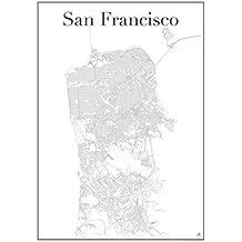 San Francisco Poster — Stadtplan Plakat Staßennetz (60 cm x 84 cm) Kunstdruck Stadtkarte und Wandposter von San Francisco Golden Gate USA Kalifornien California