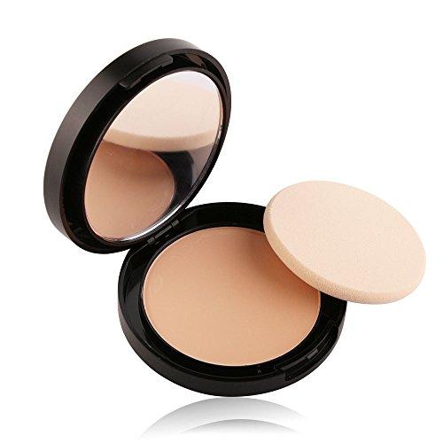 Make Up Compact Puder Gesichts Foundation Naturkosmetik mit Schwamm Spiegel (B) (Perlen Taft)