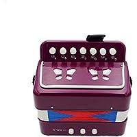 Acordeón para niños, akaufeng Acordeón botón Instrumento para músicos principiantes 10colores 7botones para distintas melodías