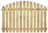 StaketenZaun 'Premium' 180x100/120cm - oben – kdi / V2A Edelstahl Schrauben verschraubt - aus getrocknetem Holz glatt gehobelt – oben gebogene Ausführung - kesseldruckimprägniert