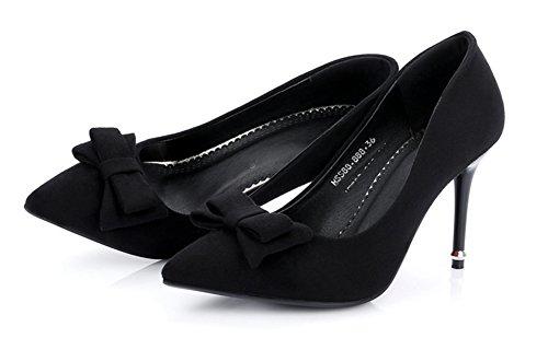 Aisun Femme Sexy Chaussures de Mariées Talon Aiguille Escarpins Noir