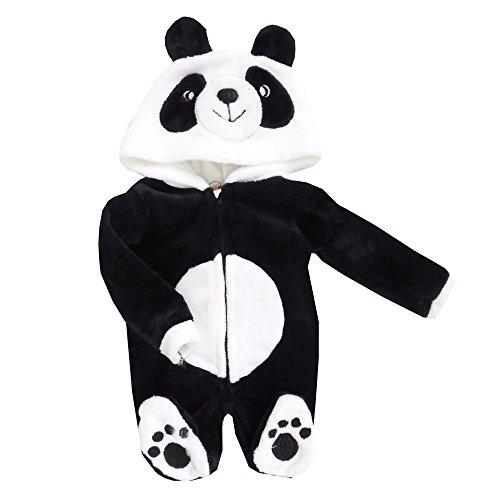 NEU | Plüsch Teddy Strampler Anzug Overall schwarz Panda | 56 62 68 74 6-9 Monate (68/74)
