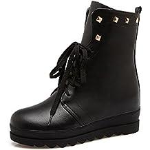 DYF Nude zapatos botas cortas cilindro central tira de remache metálico color sólido