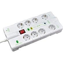 SKT MD1018 Regleta automática 8tomas enchufes USB cargador Master Slave Maestro esclavo con proteccion de sobretension blanco