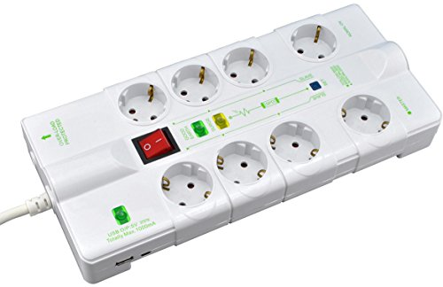 SKT 8-fach Master Slave Steckdosenleiste USB-Ladefunktion, Ethernet, Überspannungsschutz, MD1018