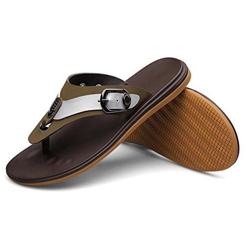 SHANGXIAN Flip Lazy Men Flops Sandales en cuir Kaki