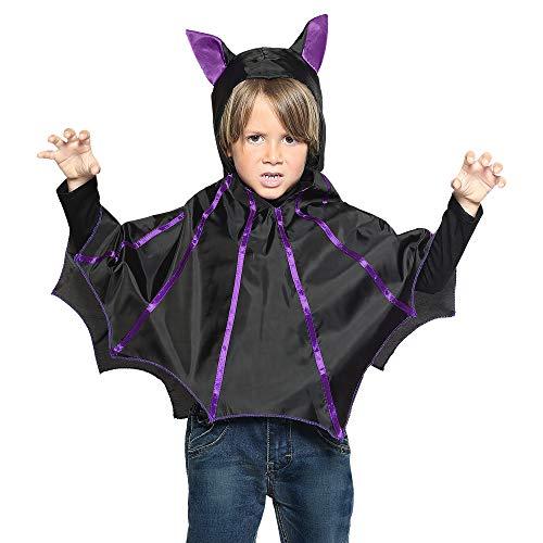 WIDMANN Pipistrello Poncho con Cappuccio per Bambini, Taglia unica VD-WDM96897