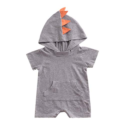 Reisebett Baby Kleidungsmädchen Baby Kurzarm Volltonfarbe Dinosaurier grau80