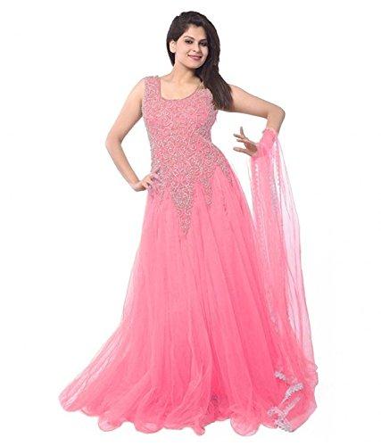 Lady Loop Women's Pink Net Semi Stitched Dress (JNE-DR-0900-PINK)