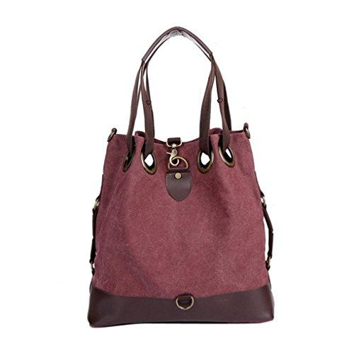 Damen Handtasche Vintage Umhängetasche Canvas Shopper Tasche Schultertasche Große Freizeittasche Tragetasche