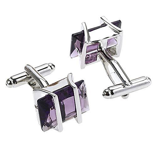 Top-End-Luxus-vorzügliche französisch Quadrat Zirkon Manschettenknöpfe für Männer und Frauen lila