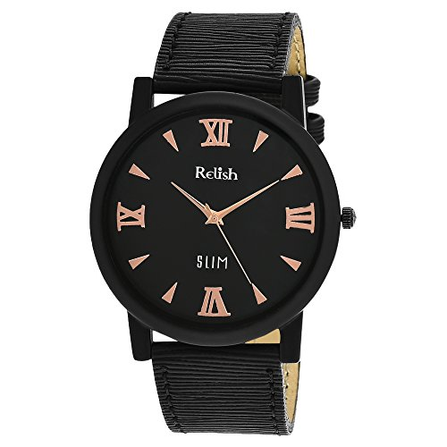 RELISH RE-S803BB SLIM Black Dial Analog Watch For Mens & Boys