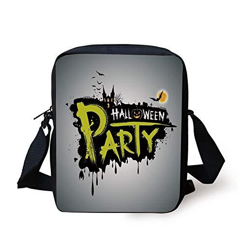 CBBBB Halloween,Halloween Party Hand Drawn Brushstrokes Artistic Design Grunge Cartoon,Yellow White Black Print Kids Crossbody Messenger Bag Purse